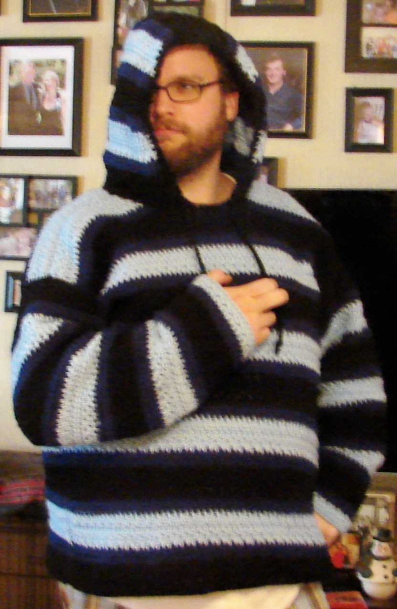 Crochet Hooded Mens Blue and Black Sweater Made to Order Sm image 0