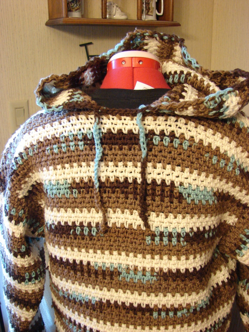 Crochet Hooded Men's Earth & Sky Sweater Made to Order Sm image 0