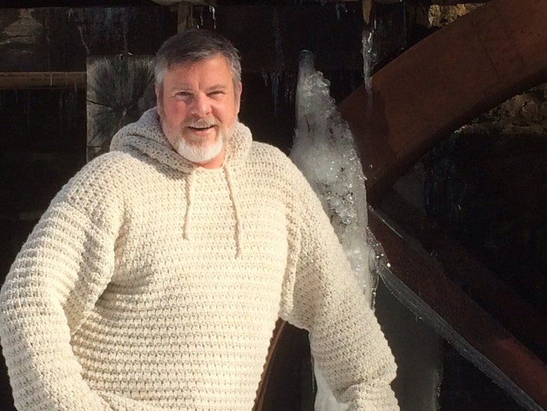 Crochet Hooded Men's Cream Color Sweater Made to Order Sm image 0
