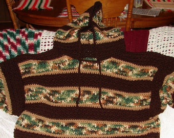 Crochet Hooded Mens Woodsy and Brown Sweater Made to Order Sm, Med, Lg, XL, 2 XL, 3 XL