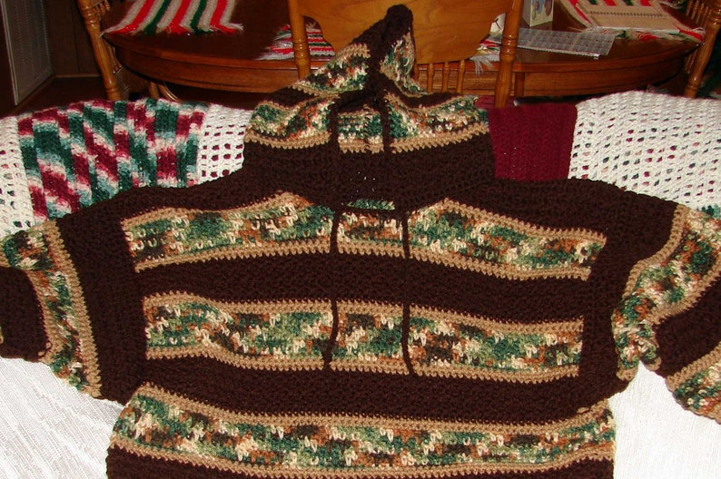 Crochet Hooded Mens Woodsy and Brown Sweater Made to Order Sm image 0
