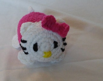 Crochet PDF Pattern For Small Amigurumi Kitty Toy with a bow  *Instant Download* White and Dark Pink