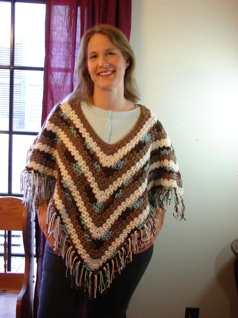 Hand Crochet Earth and Sky Poncho One Size fits Most image 1