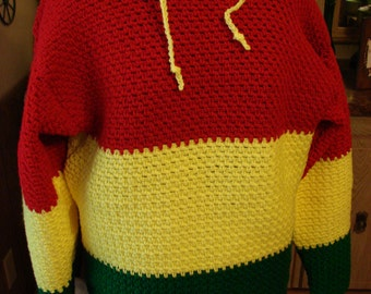 Crochet Hooded Mens Red, Yellow and Green Sweater Made to Order Sm, Med, Lg, XL, 2 XL, 3 XL