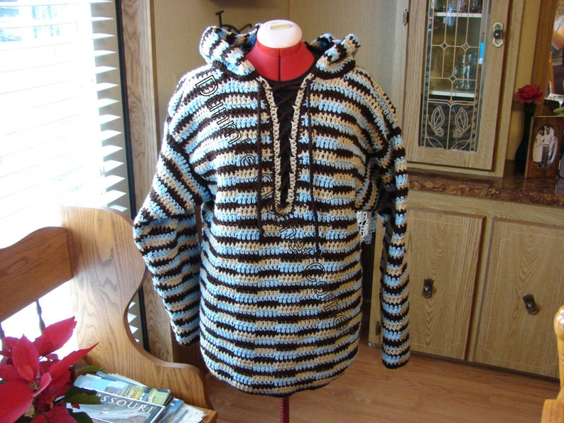 Crochet Hooded Mens  Brown Tan and Lt Blue Laced Up Front image 0