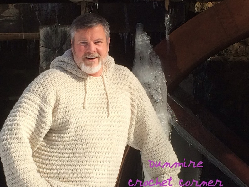 Crochet PDF Pattern For Mens Hooded Sweater Sizes Sm Med Lg image 0