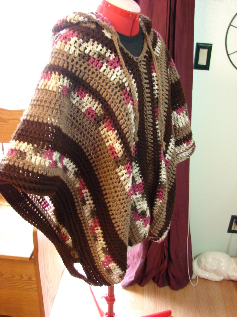 Hand Crochet Casual and Modern Hooded Adult Unisex Poncho One image 0