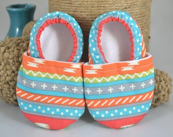 Teal Aztec-inspired Baby Shoes - Scottie Collection Mushies - Baby Shoes - Summer Baby Shoes - Crib Shoes - Teal - Soft Sole Shoes