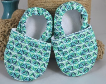 Teal Triangles Baby Shoes - Scottie Collection Mushies - Baby Shoes - Summer Baby Shoes - Crib Shoes - Teal - Soft Sole Shoes