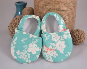 Teal Birds Baby Shoes - Scottie Collection Mushies Baby Shoes - Baby Shoes - Summer Baby Shoes - Crib Shoes - Teal - Soft Sole Shoes