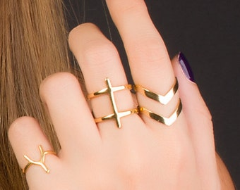 Cross Ring Gold, Double Ring, Statement Ring, Minimalist Ring, Geometric Jewelry, Stainless steel Ring, | 0027RM