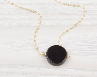 Black Onyx Necklace • Onyx necklace • Black gemstone necklace • Black necklace • Gold black necklace • Bridesmaid necklace| 0262NM