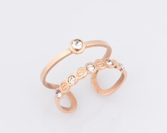 Rose Gold Ring, Double Band Ring, Rose Gold Stacking Ring, Double Ring, Solitaire Ring, Minimalist Ring, Band Ring,    0026RM