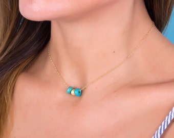 Turquoise Gold necklace / Turquoise Layered necklace / Bridesmaid gift / Gold filled / Turquoise Silver necklace/ Best friend jewelry Macris