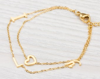 I Love you Bracelet, Gold bracelet, Heart Bracelet, Love bracelet, Layered Bracelet, Valentines Gift, Bridal Jewelry, Gift For Her | 0077BM