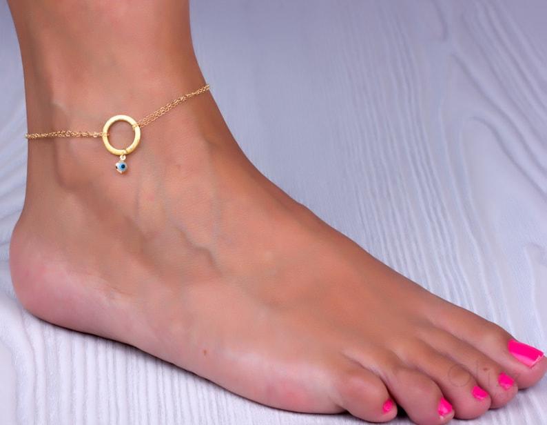 Gold anklet infinity ankle bracelet evil eye anklet best image 0