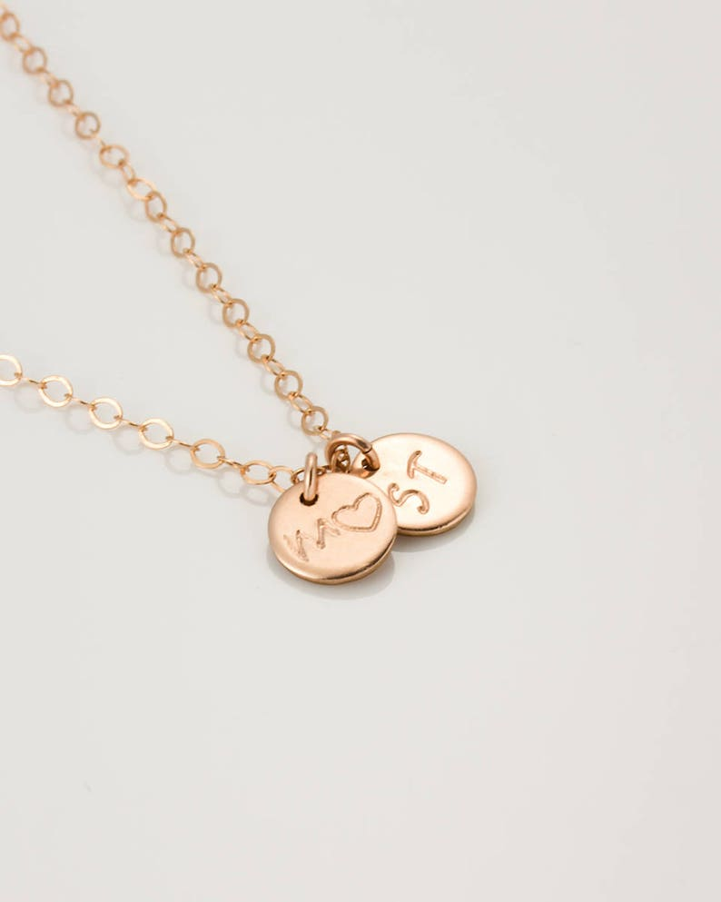 0270-1-3NM Personalized Gift for mom \u2022 Rose Gold Personalized Name Necklace \u2022 Monogram Rose Gold Necklace \u2022 Rose Gold Bridesmaid Necklace