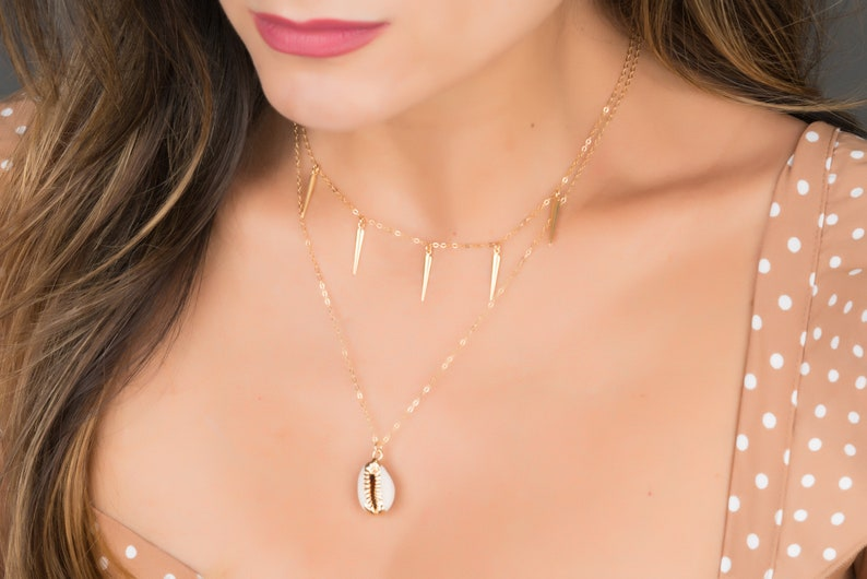 Gold Cowrie Necklace Real Cowrie Shell Necklace Ocean image 0