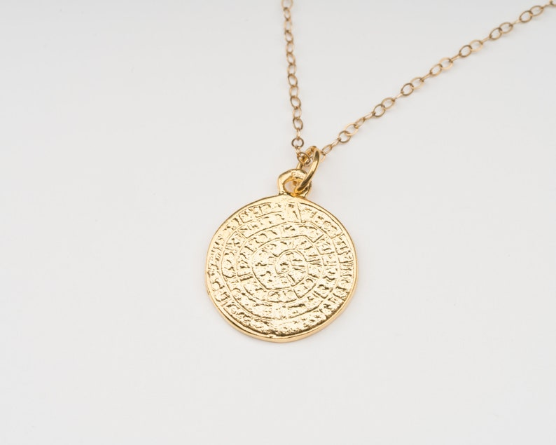 Phaistos Disk Pendant  Ancient Greek Necklace  Greek Jewelry image 0