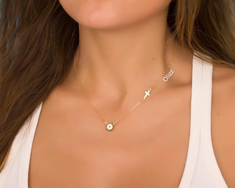 Evil Eye necklace / Gold sideways cross necklace / Cross image 0