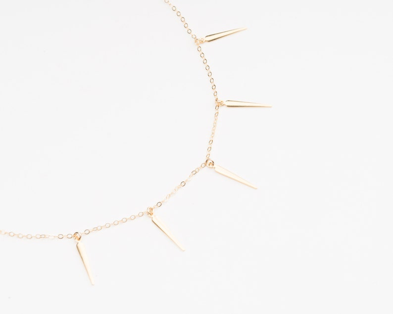 Gold Spike Necklace Sun Ray Necklace Sun Ray Collar Gold image 0