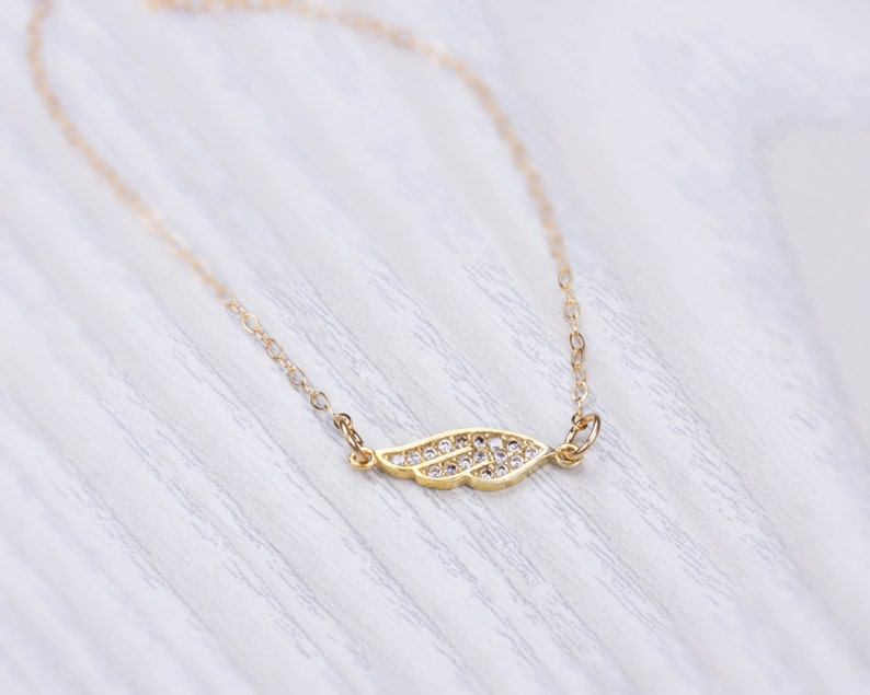 Angel wing necklace gold angel necklace gold filled image 0