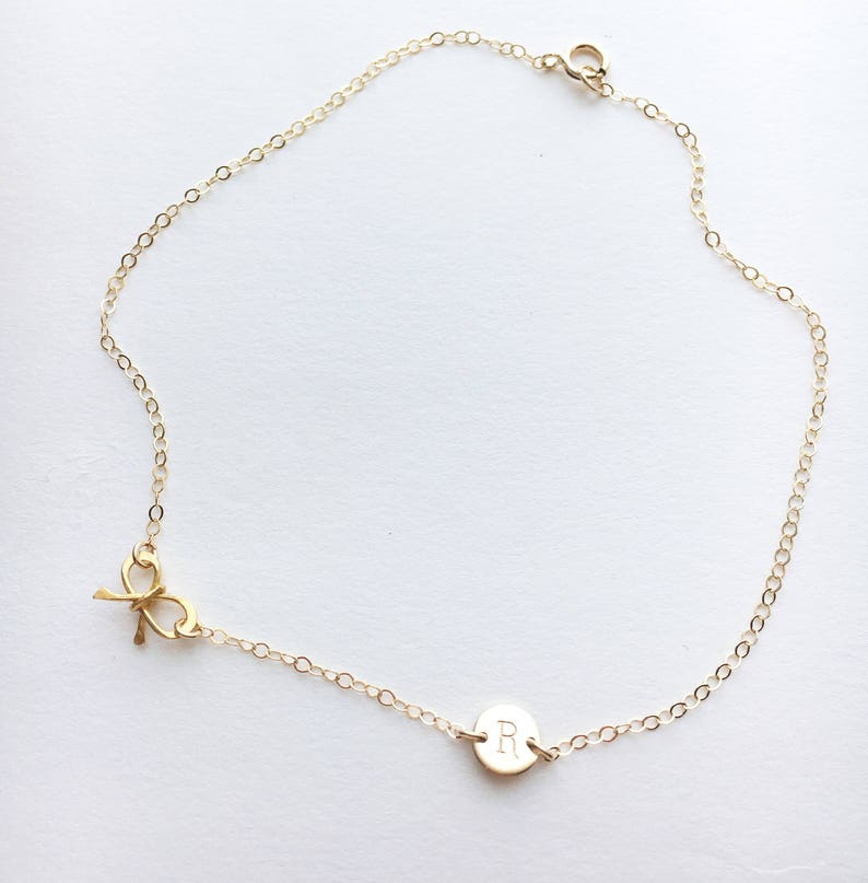 a85c86146 Personalized Anklet with a Bow Bow Jewelry Initial Ankle