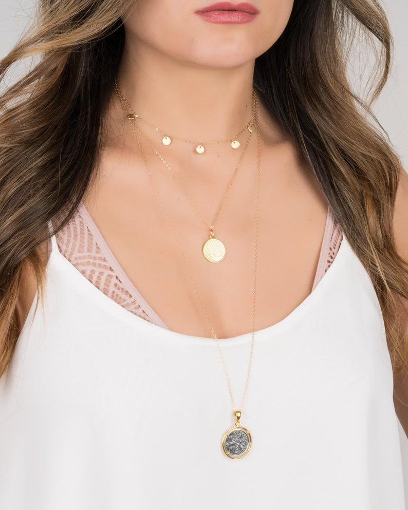 Gold Disc Necklace  Disc Choker  Disc Charm Necklace  image 0