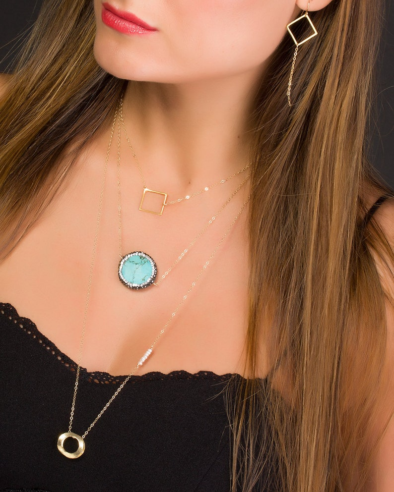 Turquoise Necklace on a 14k gold filled chain Boho Chic image 0