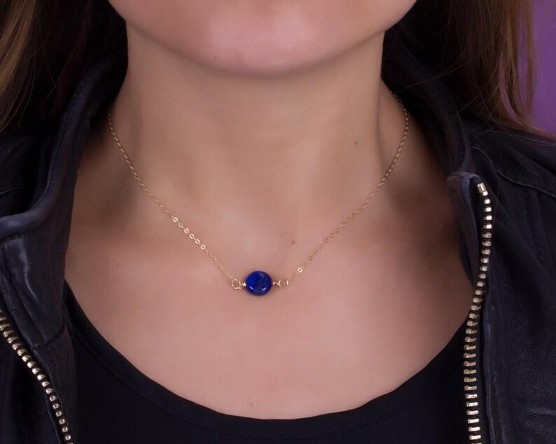 Blue Lapis necklace / Lapis Lazuli necklace / Gold Filled image 0