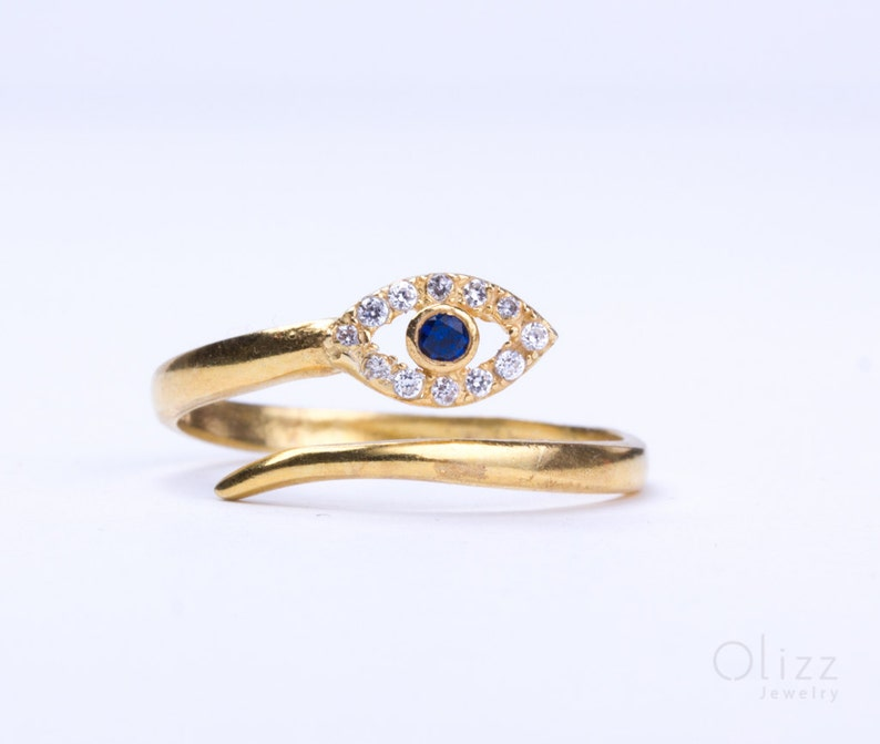 Evil eye ring / Gold ring / Sterling silver evil eye ring / image 0