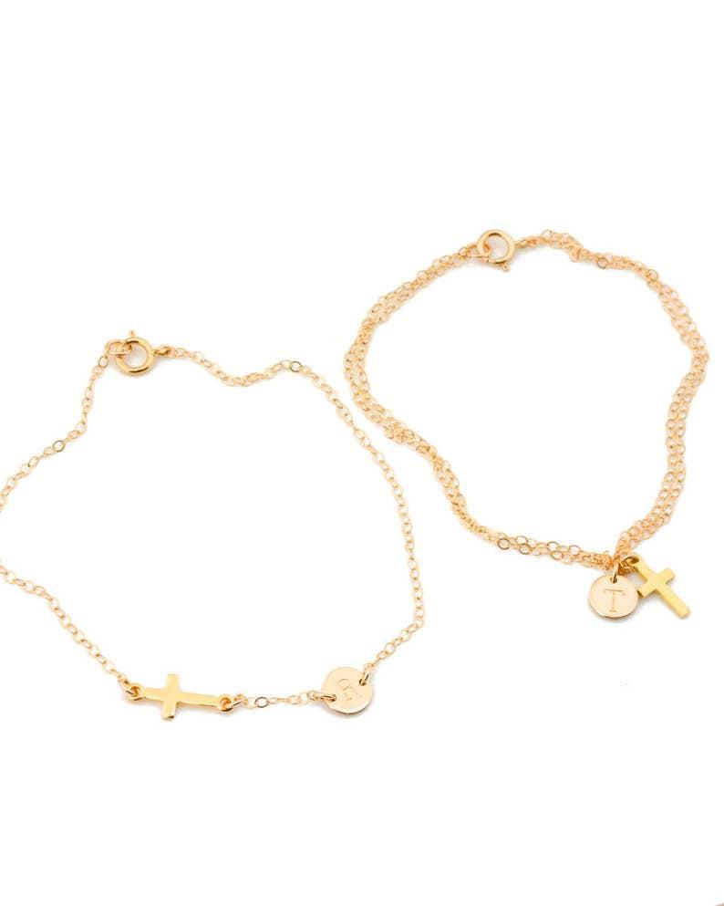 Initial Charm Bracelet \u2022 Personalized Bracelet in Gold Filled 0088-1BM Silver Rose Gold \u2022 Disc Bracelet \u2022 Double Wrap Bracelet \u2022 Wedding