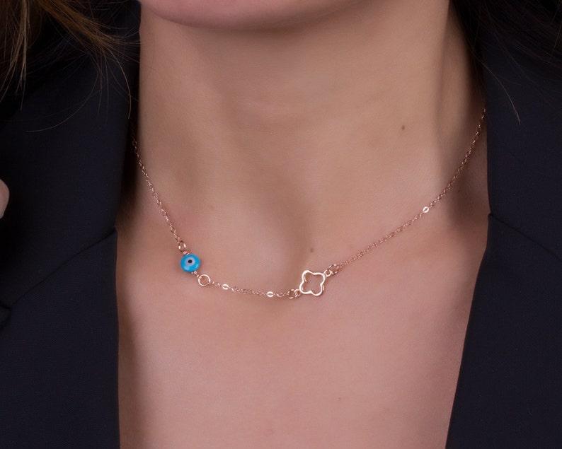 Clover necklace / Evil eye necklace / Evil eye jewelry / Blue image 0