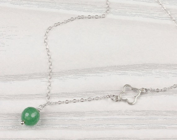 St Patricks day Jewelry Green Stone Pendant Aventurine Necklace Clover Necklace 0083BN Tiny Clover Necklace Bridal Shower Gift