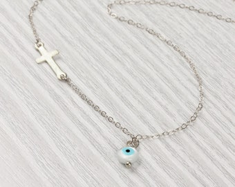 "Evil eye necklace, protection necklace, sideways cross necklace, sterling silver necklace, silver cross pendant,  faith necklace,  ""Stilbe"""