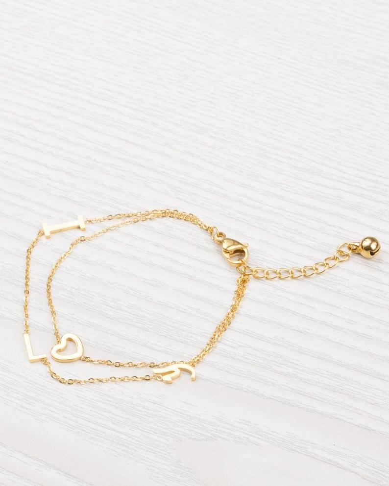 Love bracelet Layered Bracelet Gift For Her Gold bracelet Bridal Jewelry I Love you Bracelet 0077BM Heart Bracelet Valentines Gift