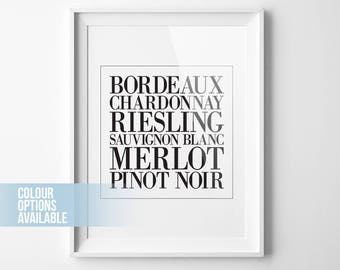 Wine Art, Kitchen Decor, Wine Poster, Wine Print, Wine Wall Art, Wine Lover Gift, Wine Art Print, Wine Sign, Merlot, Chardonnay, Bordeaux