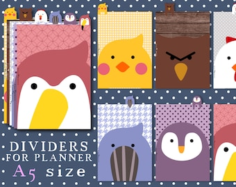 Animals dividers for A5 planner