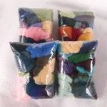 Mixed Colors Wool Roving Assortments for Felting, Fiber Grab Bags