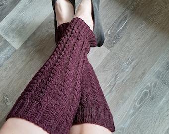 Burgundy cable knit acrylic leg warmers - warm winter leg warmers - dance/activity leg warmers - burgundy knitted acrylic yarn leg warmers