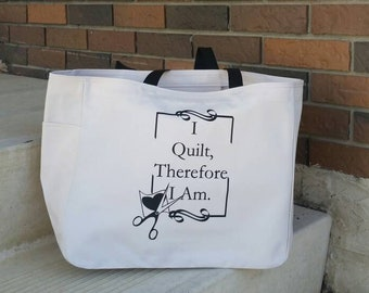 17a7a9402d Quilting themed tote bag - quilting gift - polyester crafting tote bag -  quilting craft tote bag - fabric crafts quilting bag - quilting