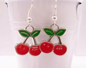 Cherry metal earrings - cherry earrings - cherry jewelry - metal cherry charms  - cherry charm earrings - cherry charms