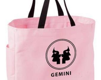 e9724b9df0c1 Gemini zodiac tote bag - astrology bag - polyester crafting tote bag -  Gemini horoscope sun sign zodiac tote bag - Gemini zodiac gift