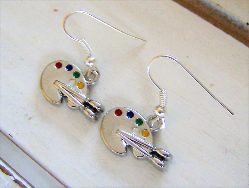 9b4a1d26d17c5 Artist palette metal earrings - artist palette charms - artist  jewelry/earrings - artist gift/keepsake - painters artistic earrings - paint