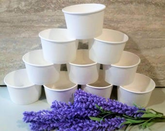 15 White paper 8oz/200ml ice-cream cup bowls/cups - white wedding - create your own theme - decorate your own bowls - kids party/baby shower