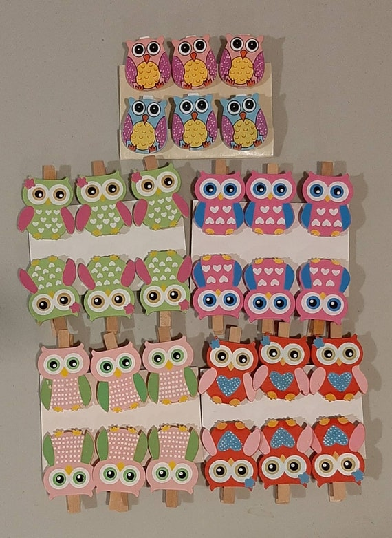 owl card clips owl favours 12 Owl wooden peg ornaments birthday party ornaments owl decorations owl wooden pegs