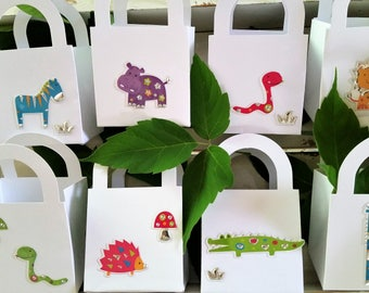 10 Wild animal party favour boxes - birthday/baby shower party favours - kid's party animal favours - zoo/jungle/forest animal boxes