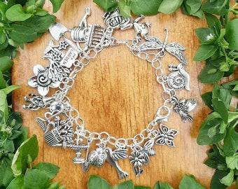 Gardening charm bracelet - metal charm garden bracelet - gardening hobby charm bracelet - gardening jewelry - garden charms - gardener gift