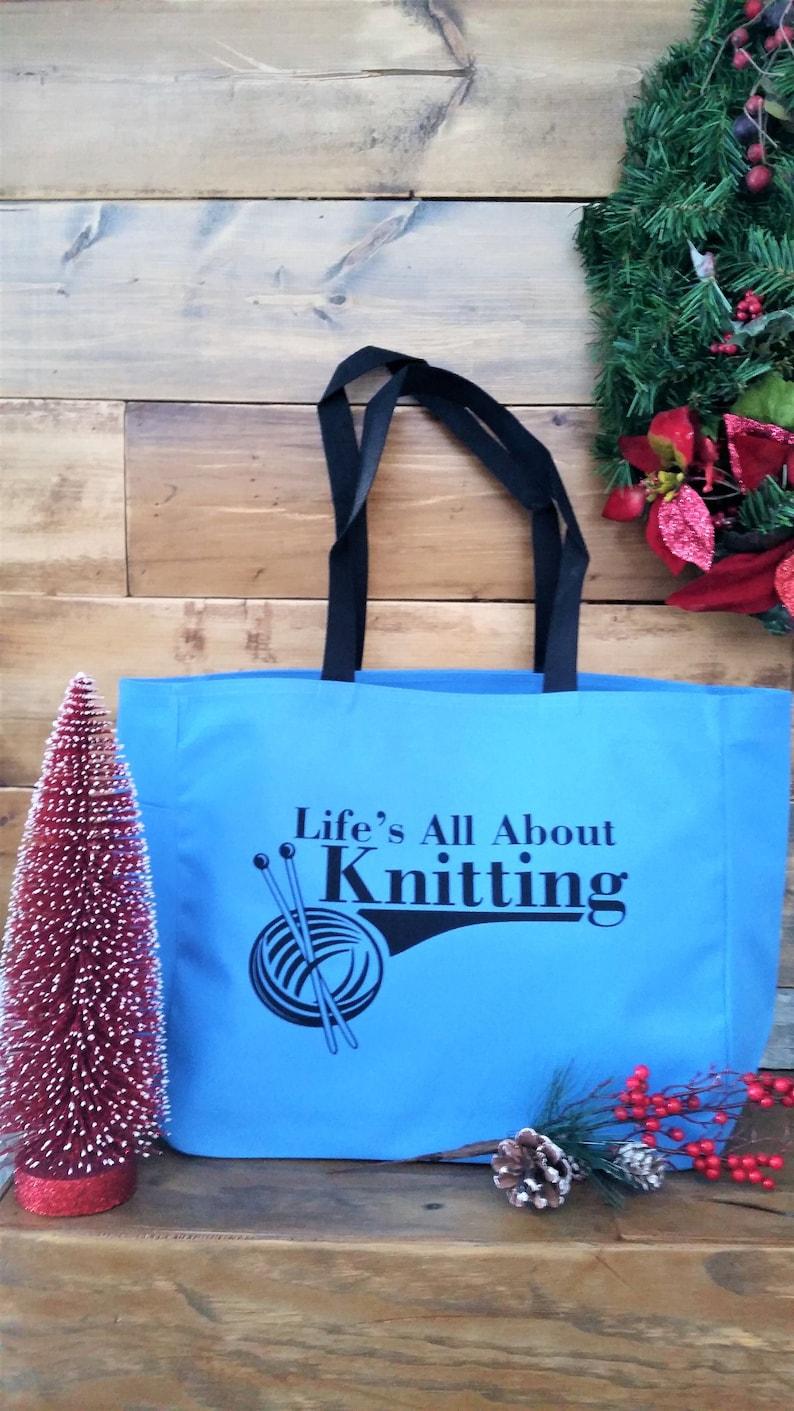 knitting gift yarn crafts tote bag original design knitting craft bag polyester crafting tote bag knitter/'s bag Knitting tote bag