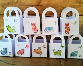 12 Cat/kitten party favour boxes - gift boxes - birthday/baby shower party favours - kid's party favours - kitty/cat themed party - felines
